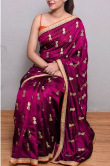 Online Rani Pink Color Designer Embroidery Silk Saree Satin Bridal Colour