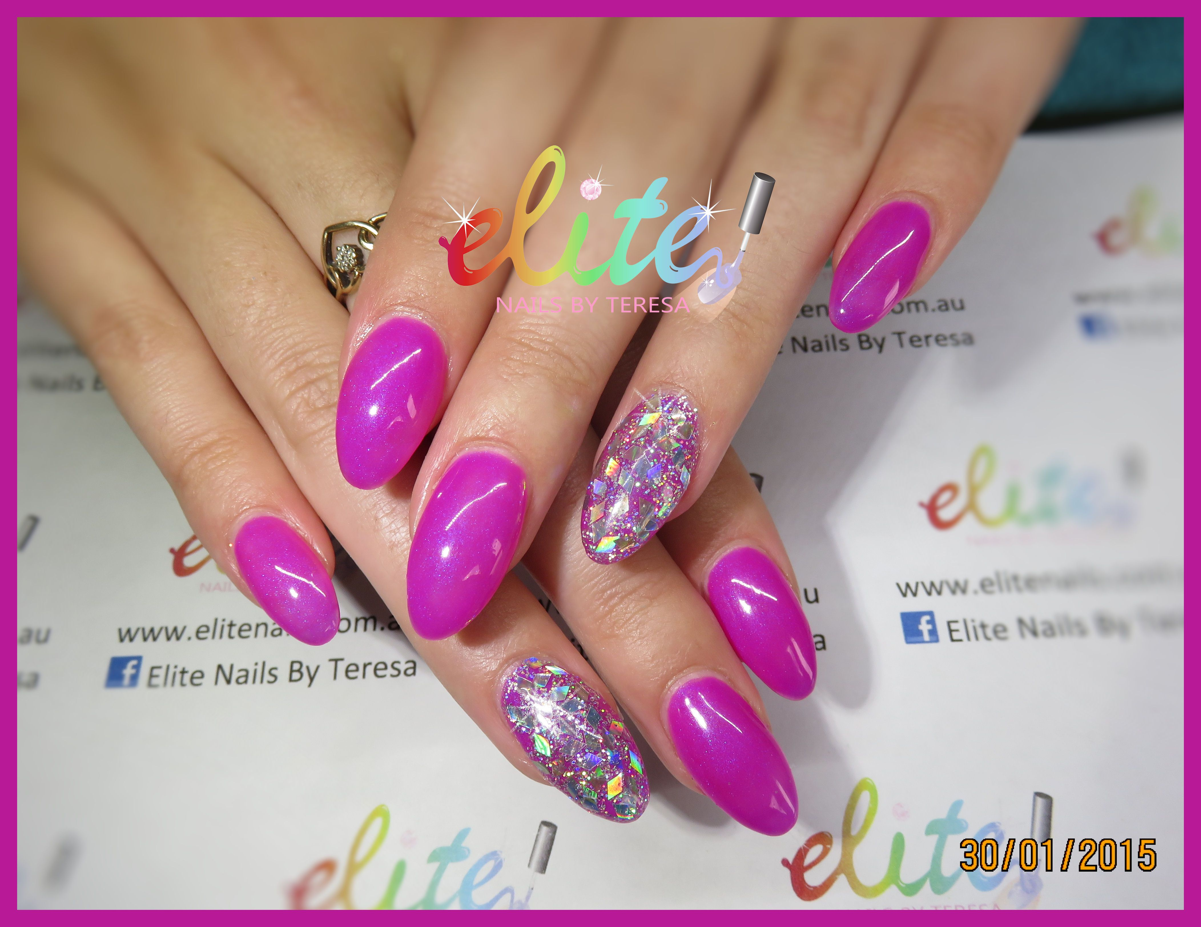Bright Pink and diamond shaped glitter sparkle bling nails nail art ...