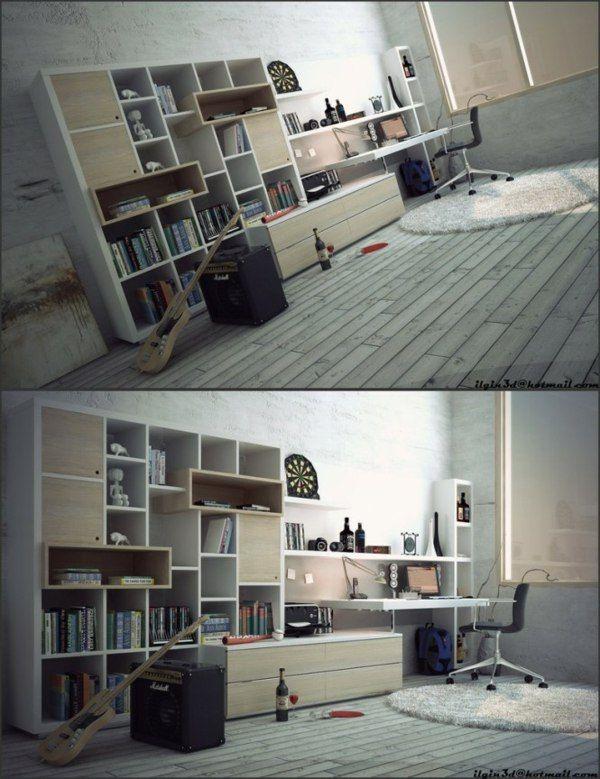 coin bureau dans chambre ado contemporaine - Espace Bureau Dans Chambre Parentale