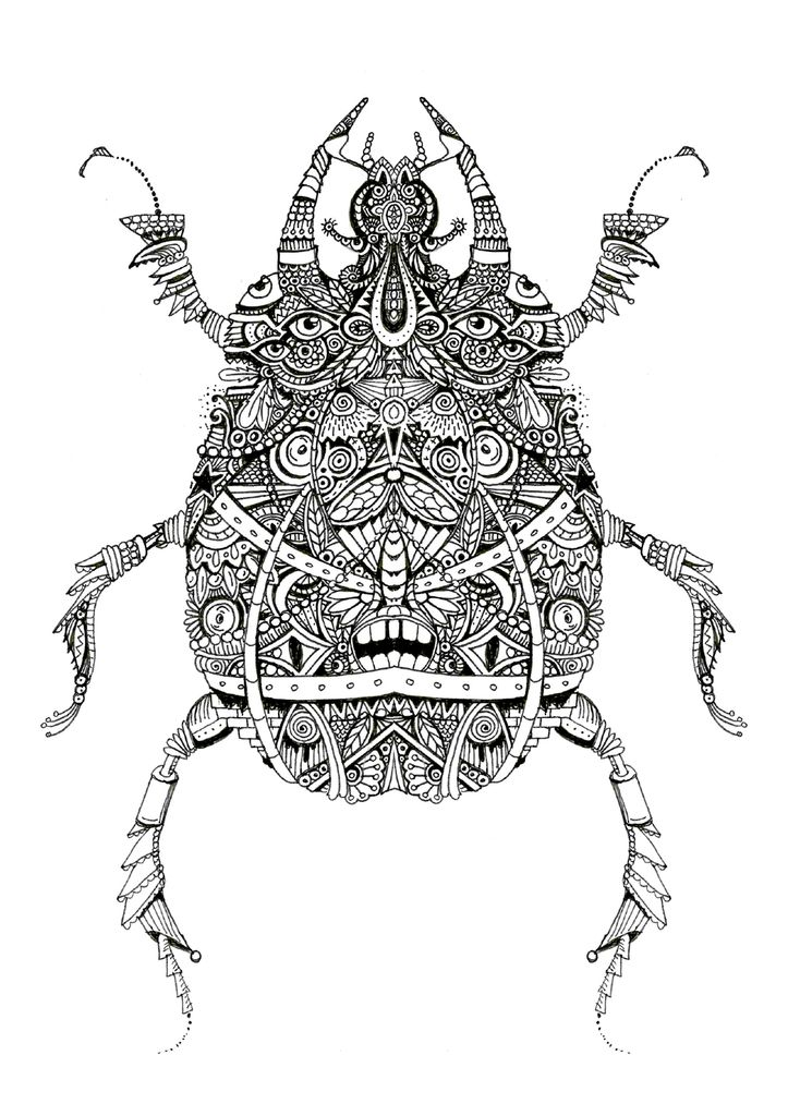 Scarab e artwok by bleeken doodle insect coloriages anti stress coloriage animaux - Mandala garcon ...