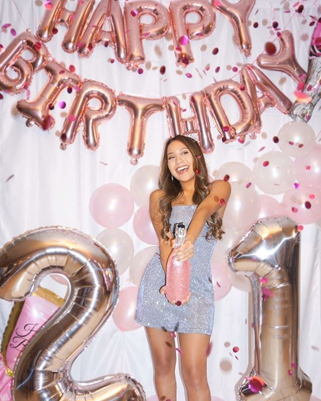 Rose Gold 21st Birthday Balloon Decor for girls |