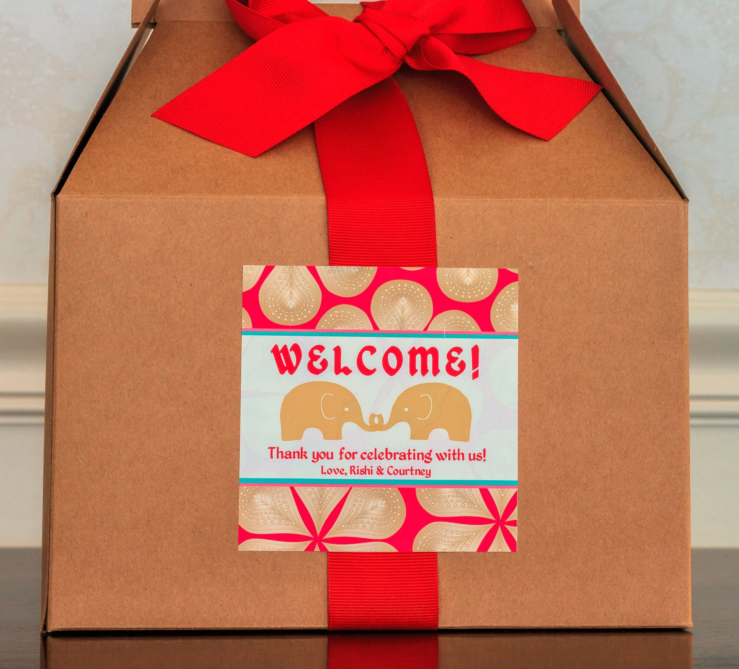 Indian Wedding Welcome Box Labels Favors Mandala Stickers Elephant Favor Bo Custom Gift Bag