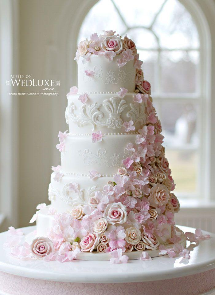 Wedding Cake with cascading sugar flowers | Wedding Cake Style ...