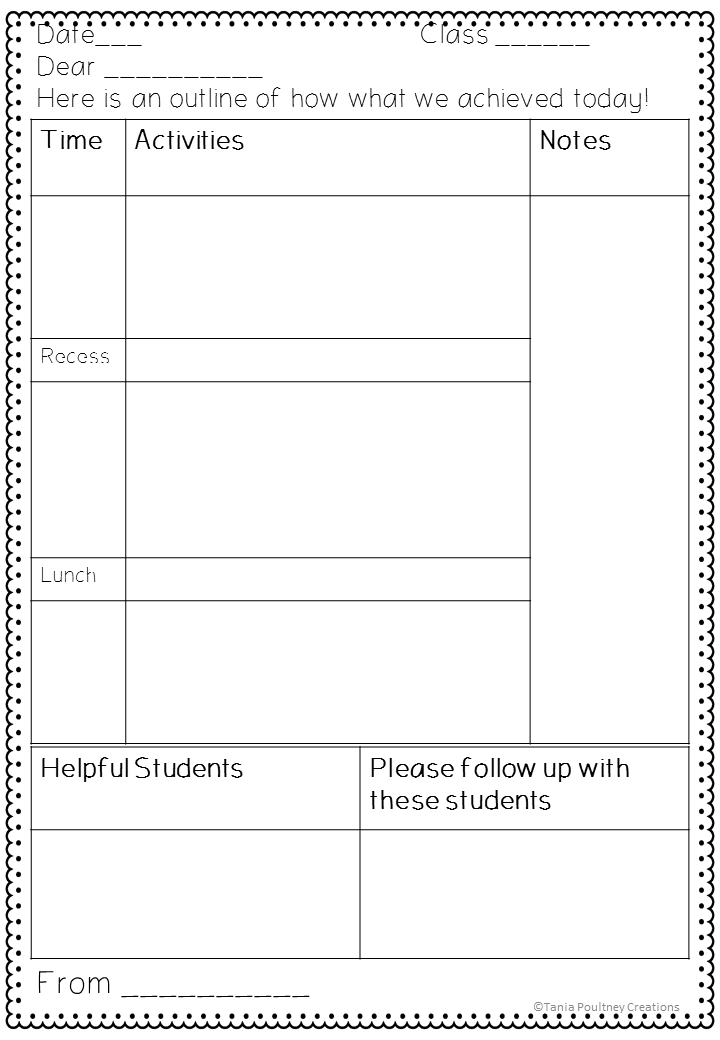 A note for the teacher- sub plan template | ★ Educational Blogs ...