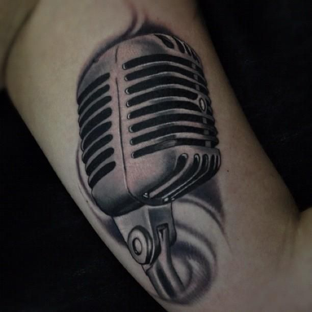 Black And Gray Microphone Tattoo Microphone Tattoo Tattoos Mic Tattoo