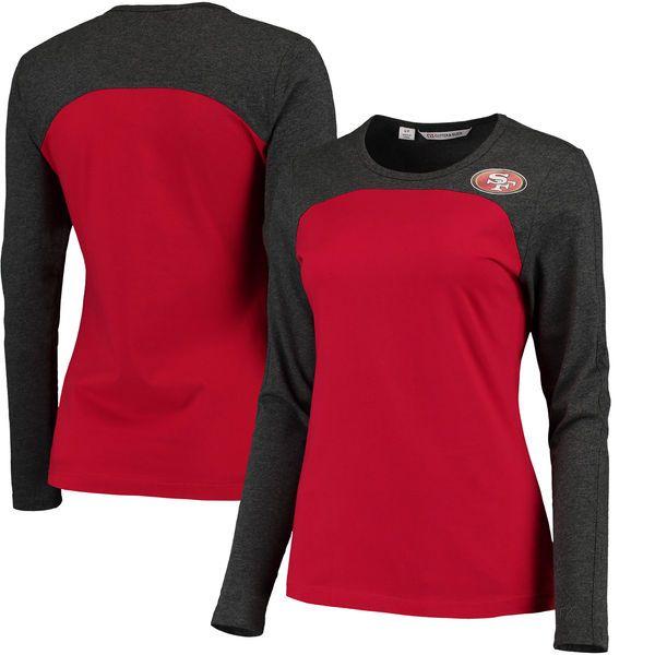 San Francisco 49ers Cutter   Buck Women s Compel Colorblock Long Sleeve T- Shirt - Scarlet f1a5fef94
