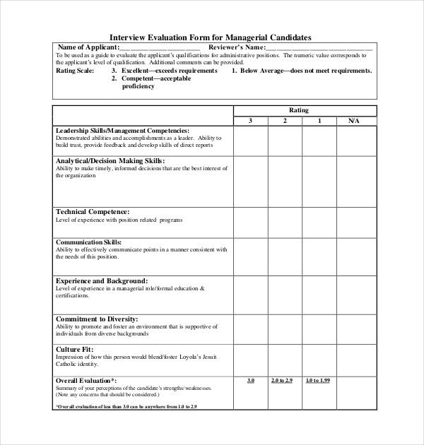 Interview Assessment Form For Managerial Position Evaluation Form Interview Performance Evaluation