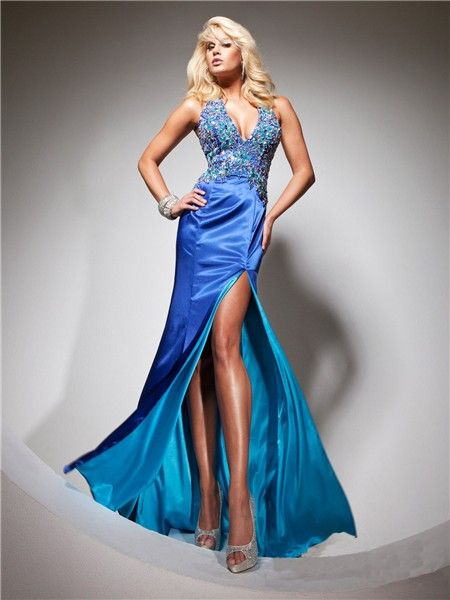 Halter V Neck Long Royal Blue Silk Beading Prom Dress With Open ...