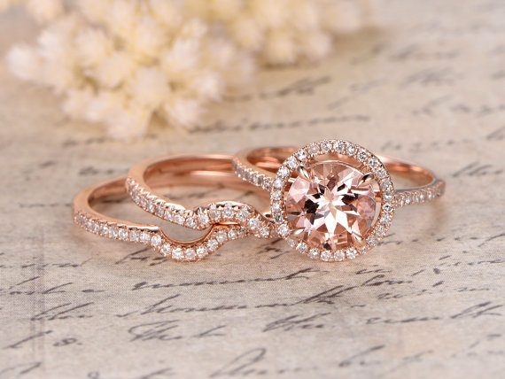 Hey, I found this really awesome Etsy listing at https://www.etsy.com/listing/274444310/3-rings-set-8mm-round-cut-morganite
