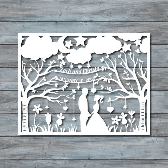 Wedding Paper Cut Template - Paper cut Templates - PDF Printable ...