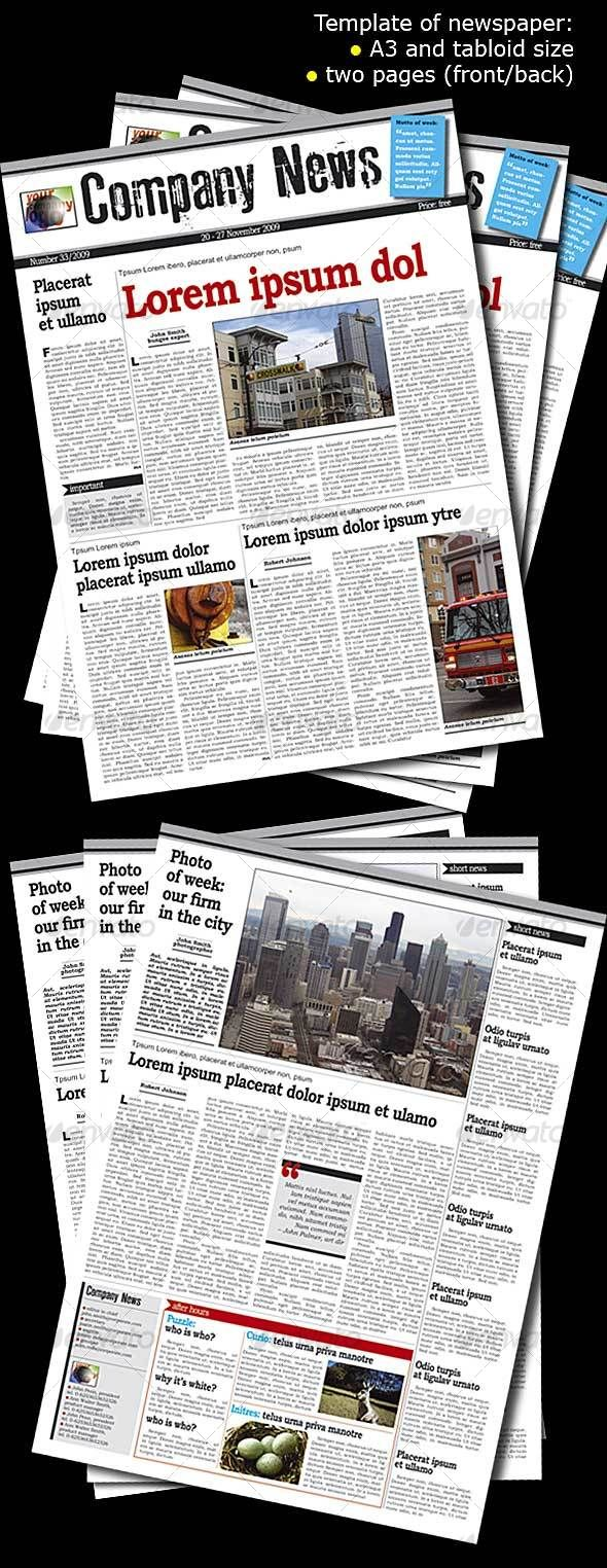 Newspaper Template - Newsletters Template InDesign INDD. Download ...