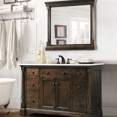Legion Furniture Single Bathroom Vanity With Carrara White Top   Antique  Coffee   Bathroom Vanities At Hayneedle