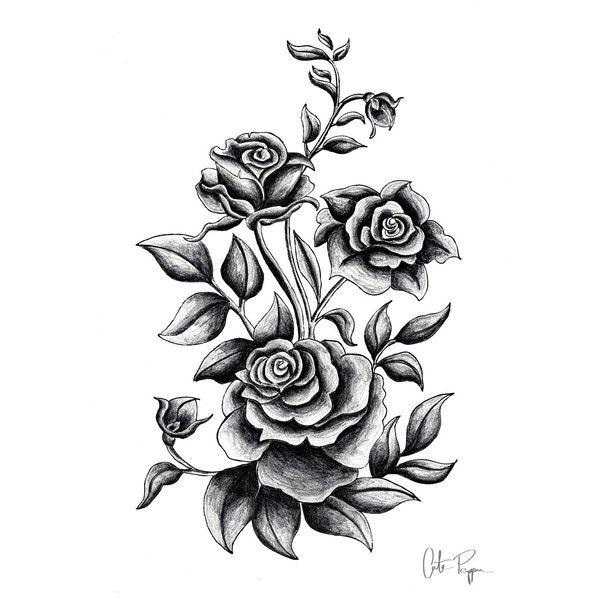 Black And White Print Of Original Illustration Art Poster Roses Flower Tattoo Sleeve Men Rose Drawing Tattoo Flower Tattoo Sleeve