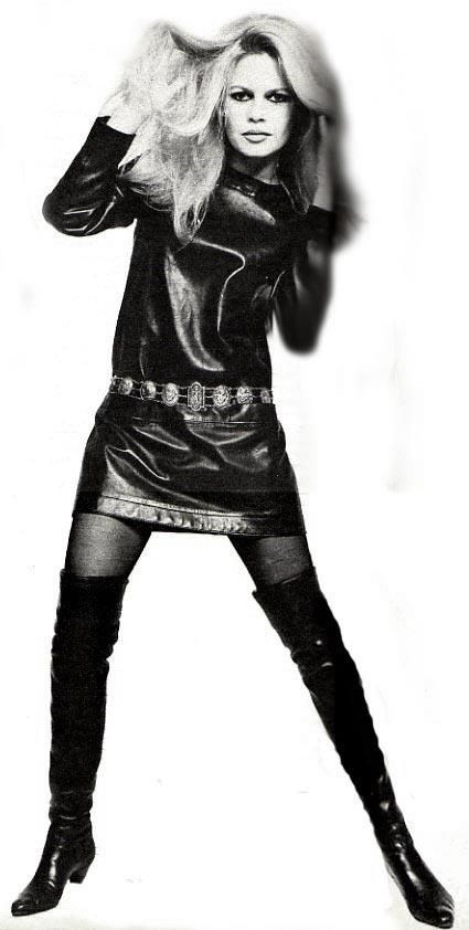 Brigitte Badot in leather mini, 1960's.