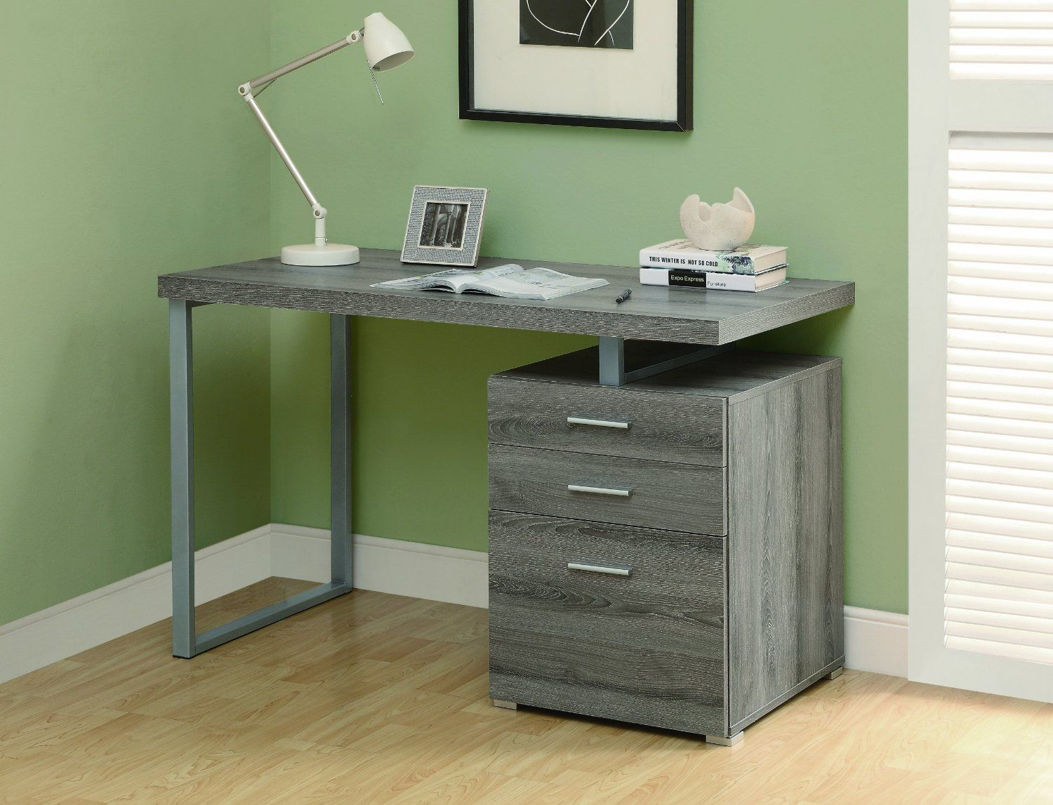 Amazon.com - Monarch Reclaimed-Look Left Or Right Facing Desk, 48-Inch, Dark Taupe - Home Office Desks