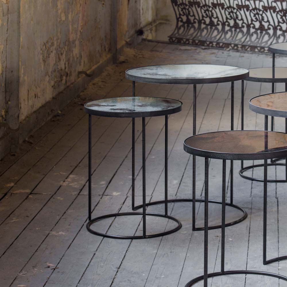 Notre Monde Beistelltische Rund Glossy Metall Glas 2er Set Schwarz Grau Beistelltische Beistelltisch Rund Spiegelglas