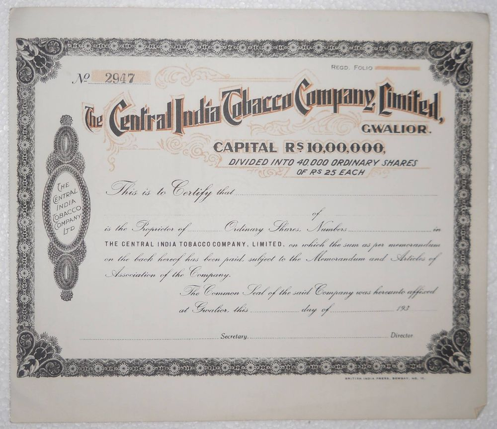 India The Central India Tobacco Company Ltd. Share Certificate unused  #sp709
