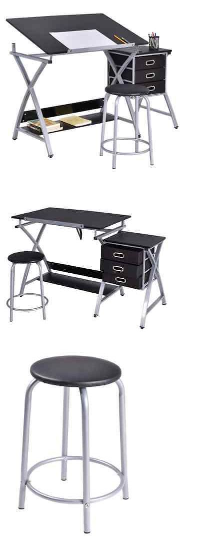 Drawing Boards And Tables 183083: Drafting Table With Parallel Bar Chair  Standing Desk Stool Draw