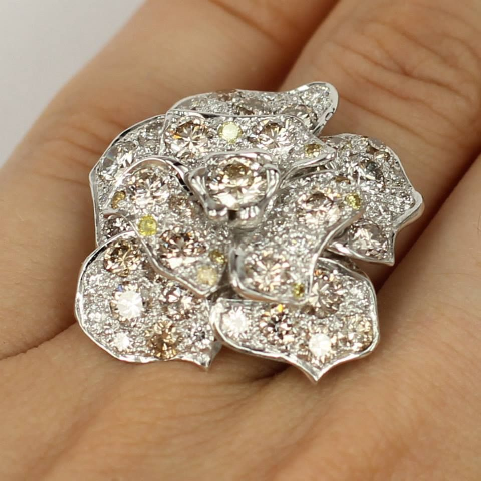 Don't give dying flowers, give a diamond flower ring that will last forever! - Diamond Jewellery by GemsBcoLtd