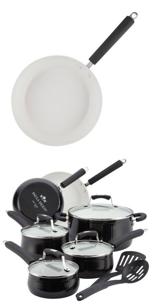 Paula Deen Savannah Collection Aluminum Nonstick 12 Piece Cookware Set Black