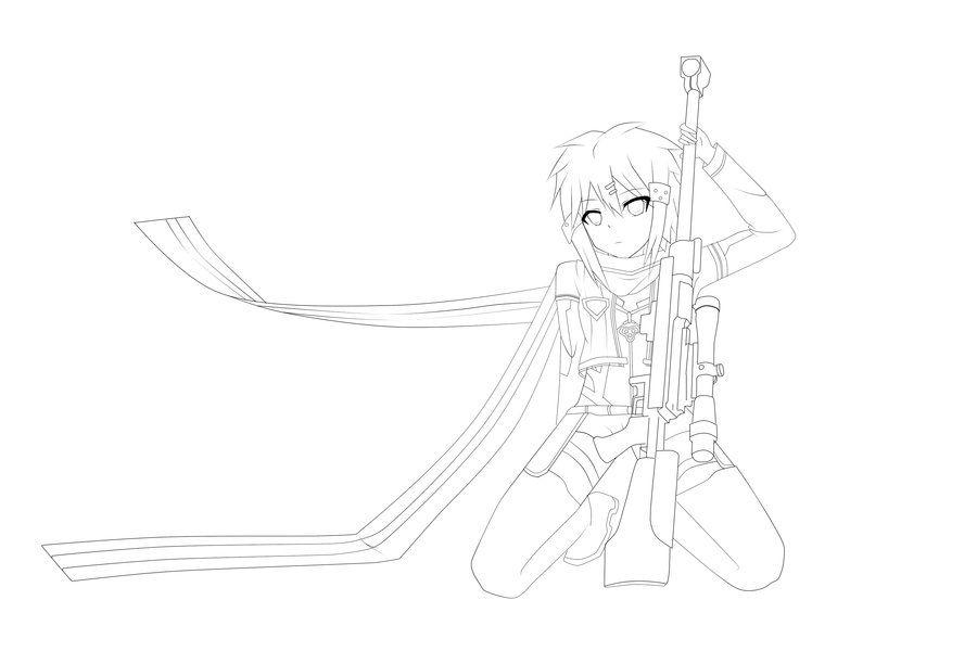 SAO Sinon from GGO by Papurikato | Sword art online, Sword ...