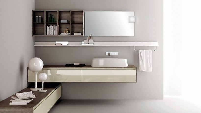 Bathroom : Floating Bathroom Vanity High Gloss Cream Modern White Sink Wall  Mounted Faucet Chrome Towel