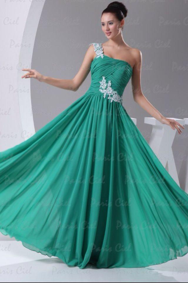 Teal Long One Shoulder Prom Dress Prom Prom Dresses