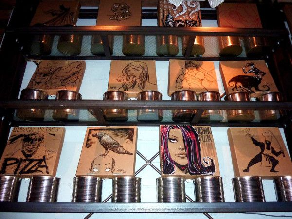 Very cool +Dan Panosian and other comic book artists artwork on Pizza boxes at #UrbanoPizzaBar #inspiration #Pizza #comicbooks