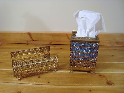 Vintage Set Gold Ormolu Square Tissue Holder Guest Hand