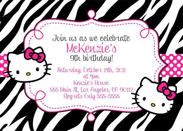 Hello Kitty Invitation Leopard Or Zebra Print 10 00 Via Etsy