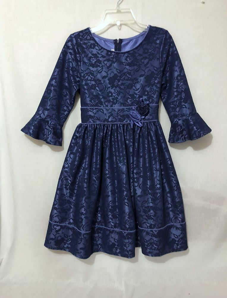 c8f8dcbd0 Girls size 12 Bonnie Jean blue lace fully lined party dress holiday ...