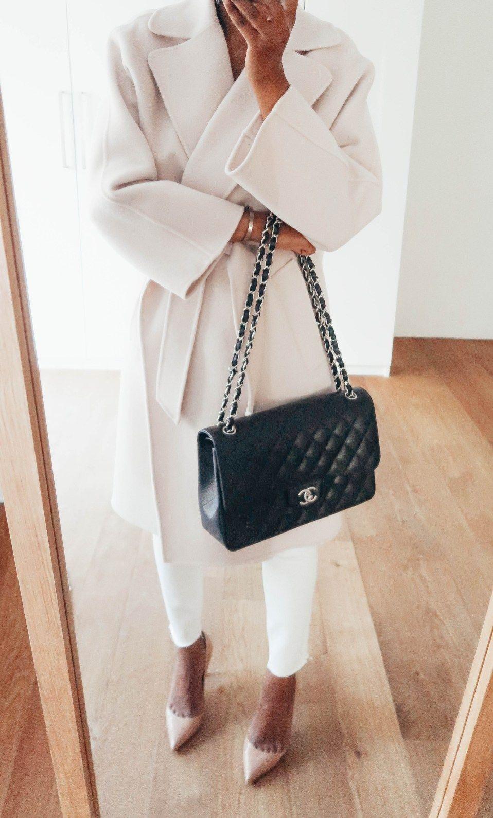 Chanel jumbo flap outfit. Classic coat. Elegant winter