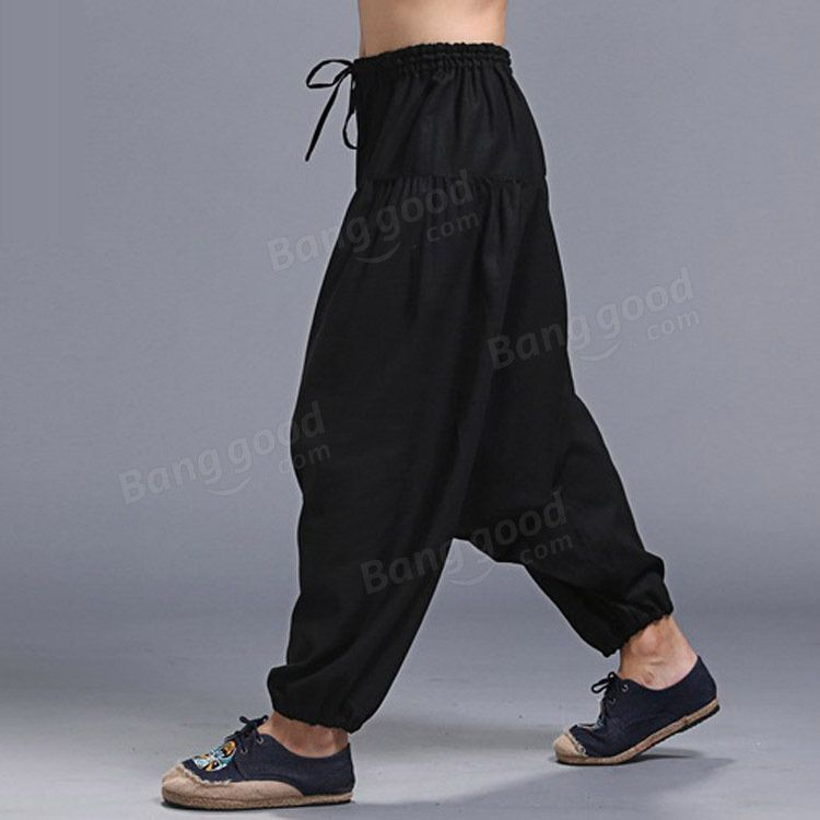 ad13acc436f Men Yoga Loose Drop Crotch Pants Male Casual Harem Pants Elastic Cotton  Linen Bloomers Trousers Sale - Banggood.com