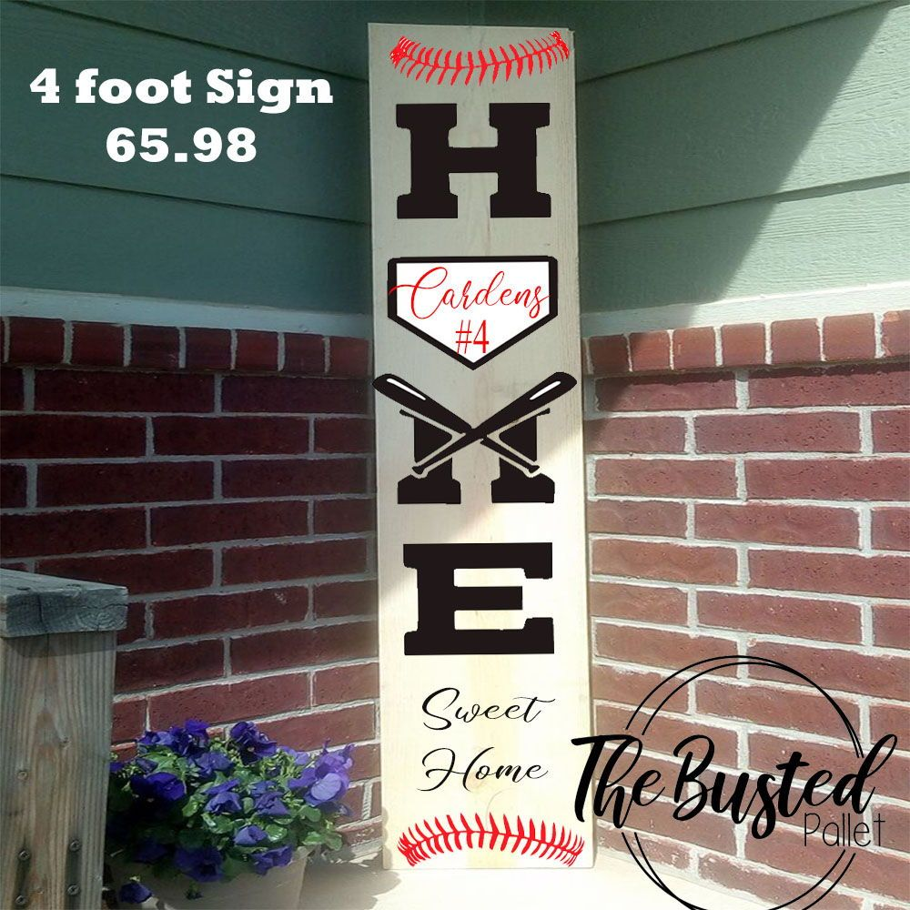 4 Foot Sign On Sale 65 98 Perfect For The Front Porch Of Your Baseball Or Softball Loving Family Summer Vertical Por Summer Wood Sign Diy Wood Signs Wood Signs