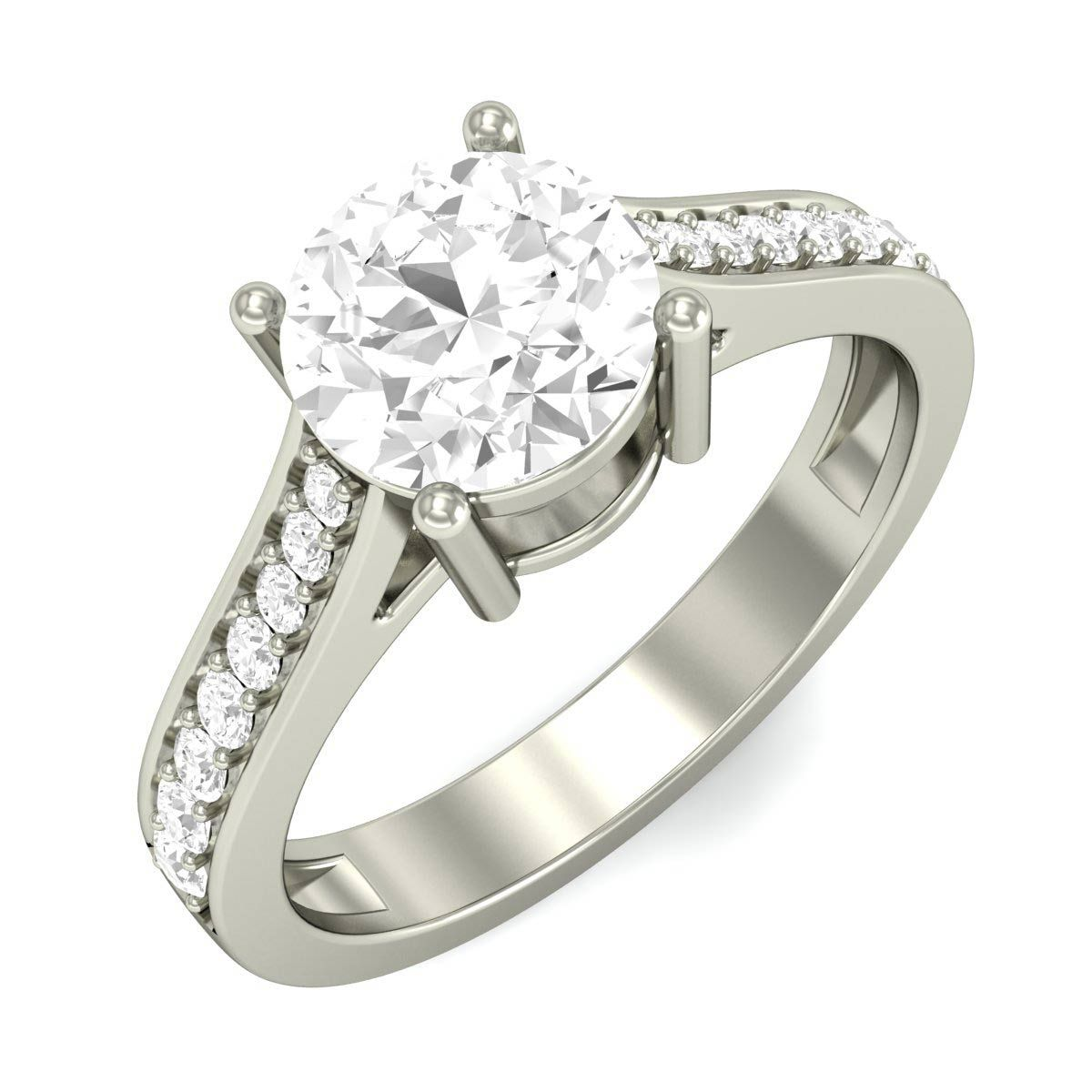Pave Diamond Shank With Raised Prong Set Round Solitaire Ring Design your own Solitaire