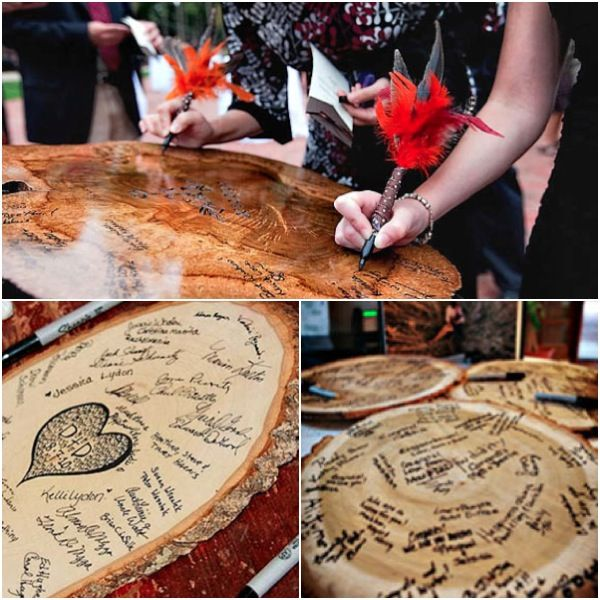 use large wood round, burn date of wedding and names, have guests