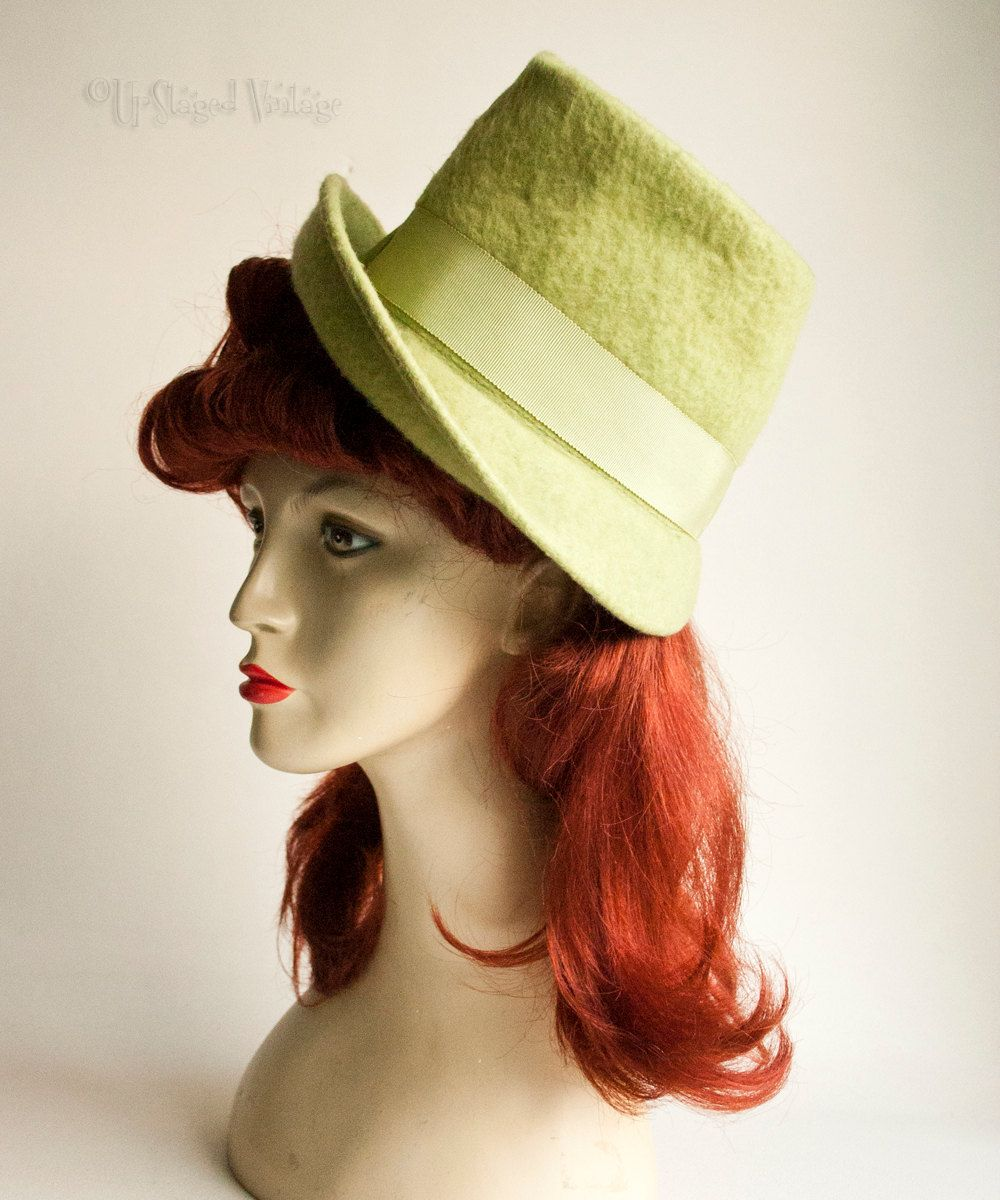 Vintage Retro 1950s/60s Lime Green Wool Felt Bucket Demi Cloche Hat by UpStagedVintage on Etsy