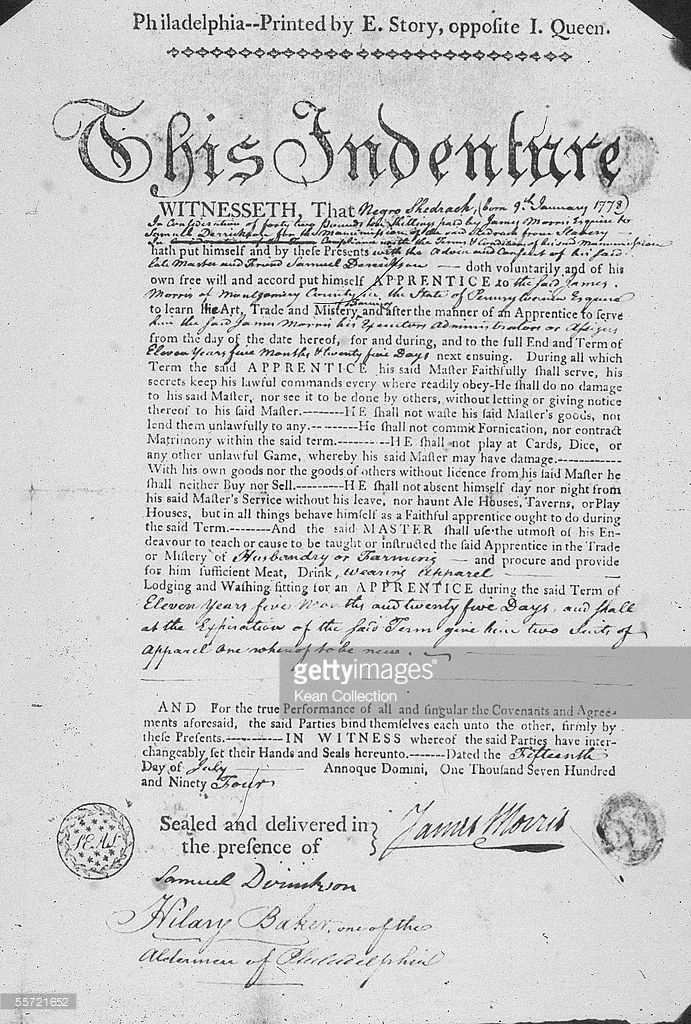 Certificate of Indenture describes the conditions under