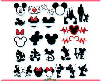 mickey mouse und minnie mouse silhouette von. Black Bedroom Furniture Sets. Home Design Ideas