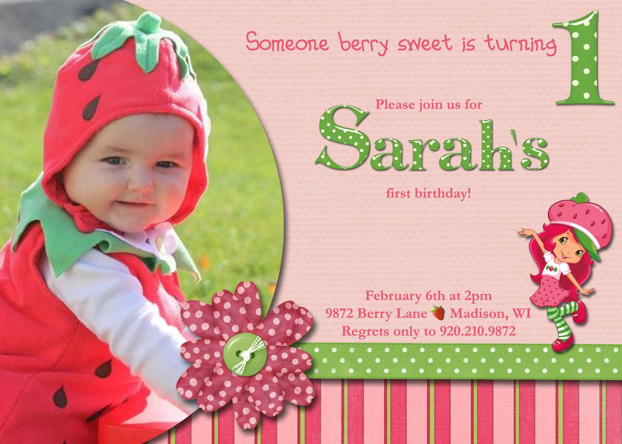Someone Berry Sweet Strawberry Shortcake Birthday Invitation 5x7