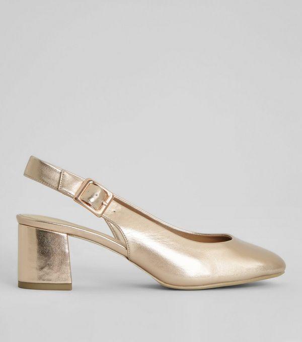 0099450814b Wide Fit Rose Gold Sling Back Heels