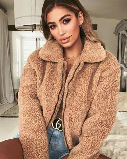 01b6cbd5a34 Lapel Zipper Solid Color Women Cropped Faux Fur Teddy Coat