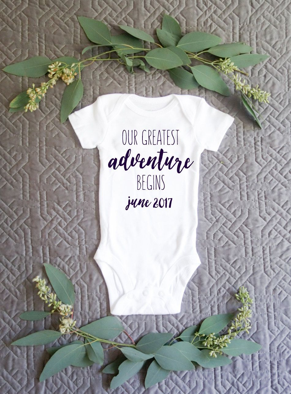 Greatest Adventure Pregnancy Announcement Baby Onesie Bodysuit by – Expecting Baby Announcement