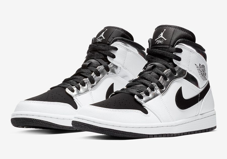 timeless design 9675a 407dc Air Jordan 1 Mid White Silver Black 554724-121 | Shoes | Air ...