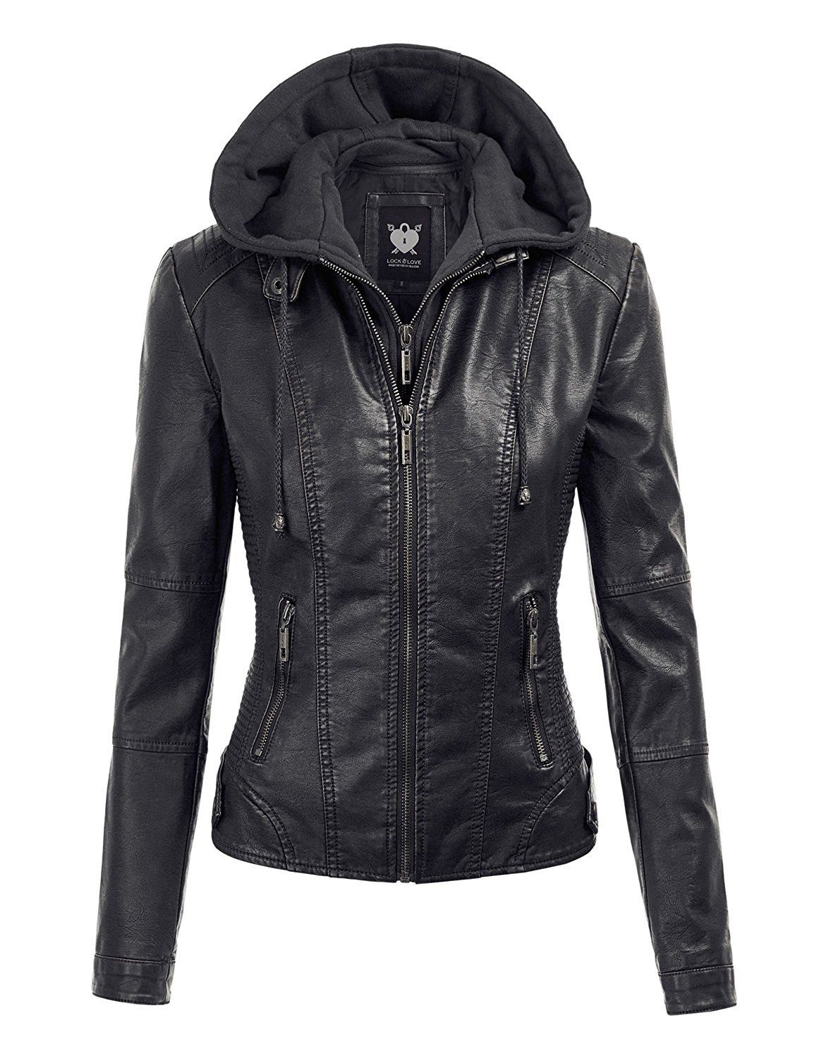 Womens Hooded Faux leather Jacket Leather jackets women