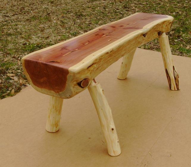 Handmade Rustic Cedar Bench High Gloss Finish Cedar Bench Cedar Furniture Log Furniture Tools