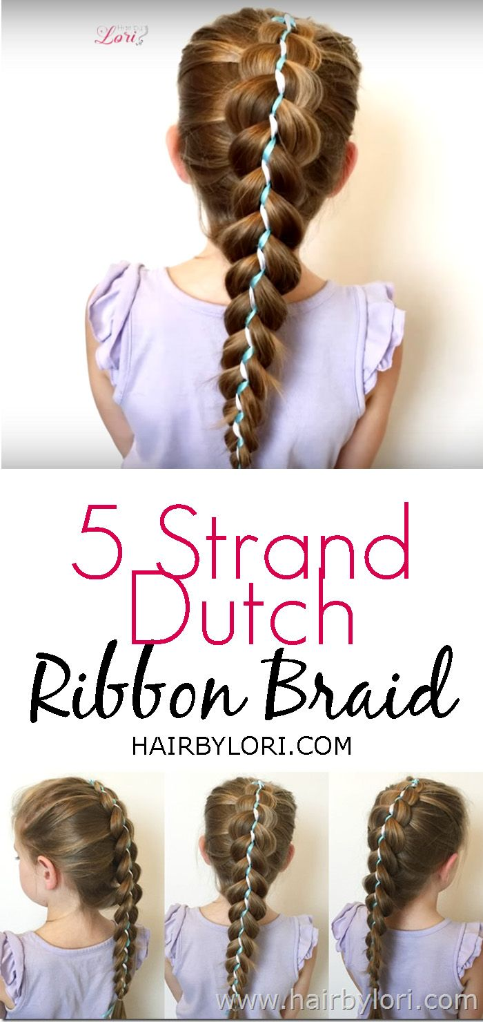 Quick Hairstyles For School 5 Strand Dutch Ribbon Braid  Fun Hairstyles Ribbon Braids And