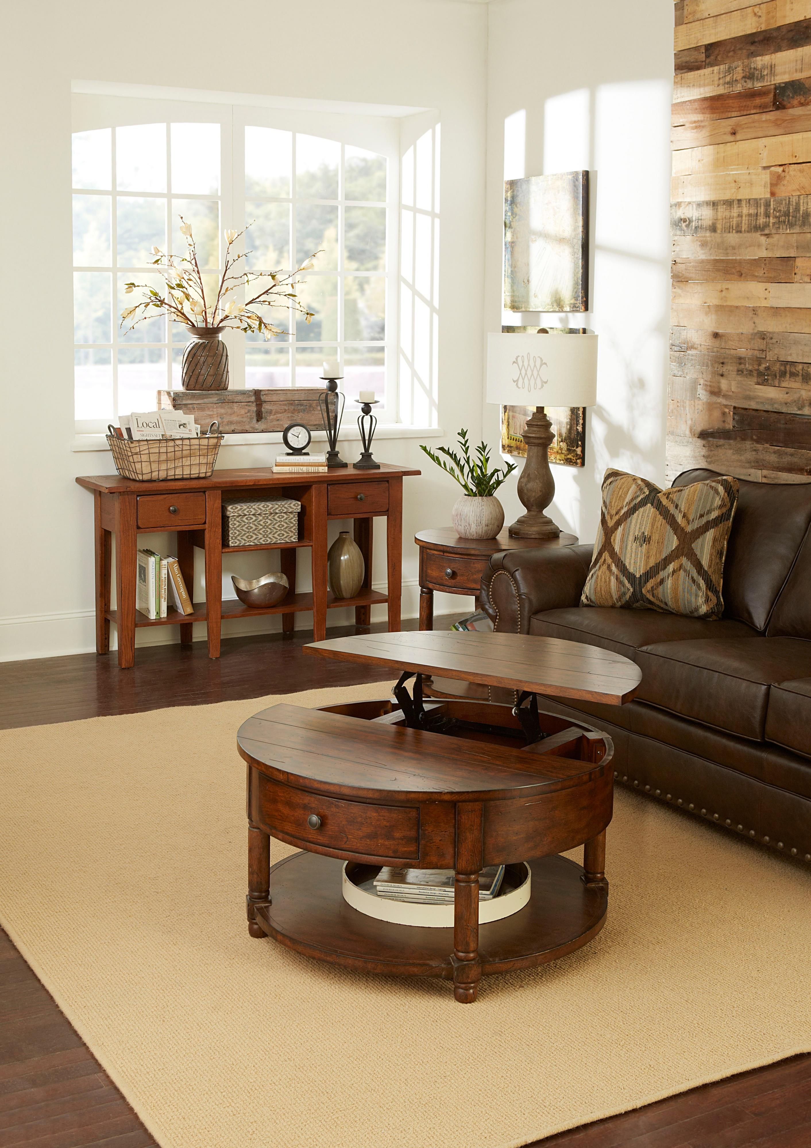 Attic Heirlooms Round Lift Top Cocktail Table With Shelf By Broyhill Furniture At Baer S Furniture Broyhill Furniture Wooden Sofa Set Furniture [ 4000 x 2824 Pixel ]