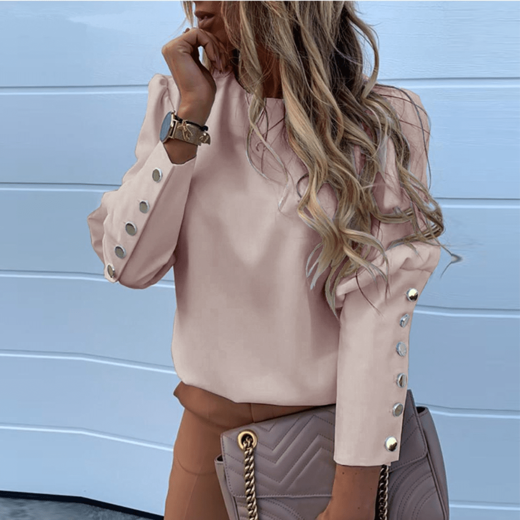 Women's Button Blouse Round Neck Long Sleeve Top