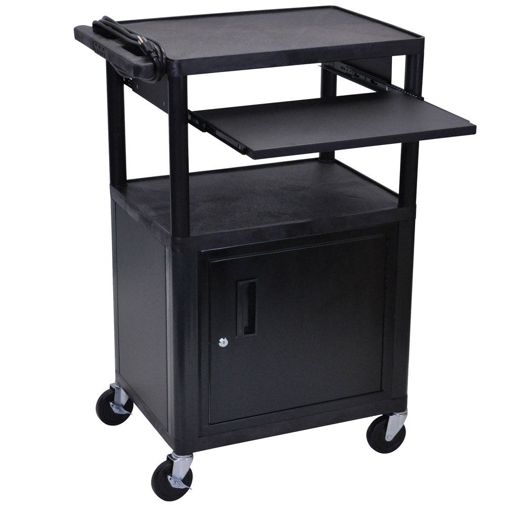 Luxor / H. Wilson LP42CLE-B 3-Shelf Plastic AV Cart with Steel  sc 1 st  Pinterest & Luxor LP42CLE-B 3-Shelf Plastic AV Cart with Steel Locking Cabinet ...